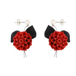 Jt Ασημένια κρεμαστά σκουλαρίκια κόκκινα λουλούδια