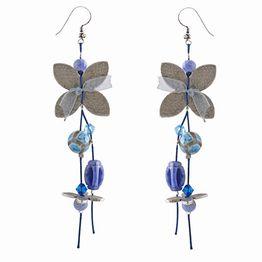 Jt Ασημένια κρεμαστά σκουλαρίκια πεταλούδες μπλε