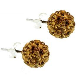 Jt Ασημένια καρφωτά σκουλαρίκια Swarovski χρυσαφιά μπάλα