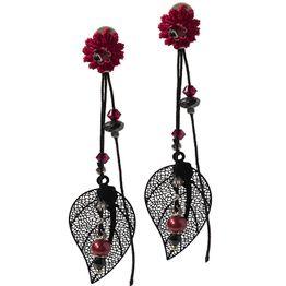 Jt Ασημένια σκουλαρίκια φύλλο με Swarowski και μαργαριτάρια