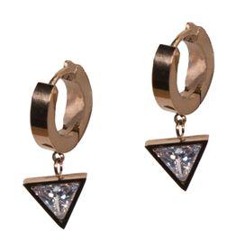 Jt Ατσάλινα σκουλαρίκια κρίκοι μικροί τρίγωνο λευκό κρύσταλλο