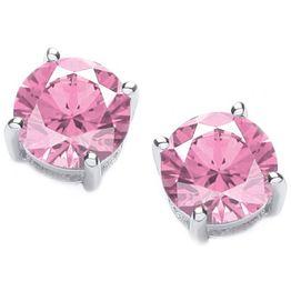 Jt Ασημένια μονόπετρα σκουλαρίκια ροζ ζιργκόν 5mm