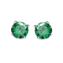 Jt Ασημένια μονόπετρα σκουλαρίκια πράσινα ζιργκόν 5mm