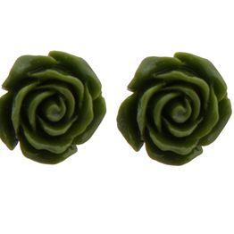 Jt Ασημένια καρφωτά σκουλαρίκια πράσινα τριαντάφυλλα