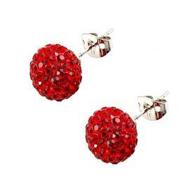Jt Ασημένια καρφωτά κόκκινα σκουλαρίκια Swarovski μπάλα