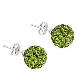 Jt Ασημένια καρφωτά σκουλαρίκια Swarovski πράσινα μπάλα
