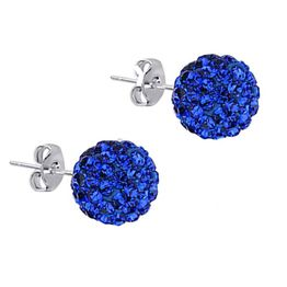 Jt Ασημένια καρφωτά σκουλαρίκια Swarovski μπλε ηλεκτρίκ