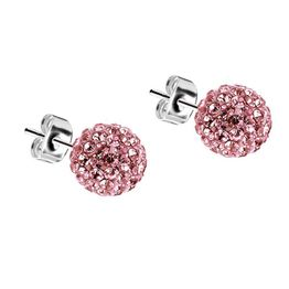 Jt Ασημένια καρφωτά σκουλαρίκια Swarovski ροζ μπάλα