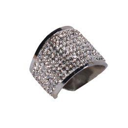 Jt Εντυπωσιακό δαχτυλίδι λευκά στρας και καμπύλες ατσάλινο