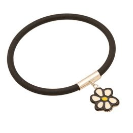 Jt Ασημένιο βραχιόλι καουτσούκ με λουλούδι