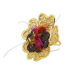 Krini Ασημένιο δαχτυλίδι λουλούδι με δαντέλα