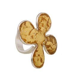 Krini Ασημένιο δαχτυλίδι λουλούδι με ψήγματα χρυσού 22Κ