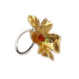 Krini Ασημένιο δαχτυλίδι λουλούδι με χρυσό 22Κ και Swarovski