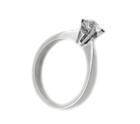 Jt Ασημένιο μονόπετρο δαχτυλίδι με λευκό ζιργκόν 4mm