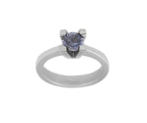 Jt Ασημένιο μονόπετρο δαχτυλίδι με στρογγυλό μπλε ζιργκόν