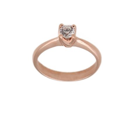 Jt Ασημένιο μονόπετρο δαχτυλίδι ροζ επιχρύσωμα και ζιργκόν
