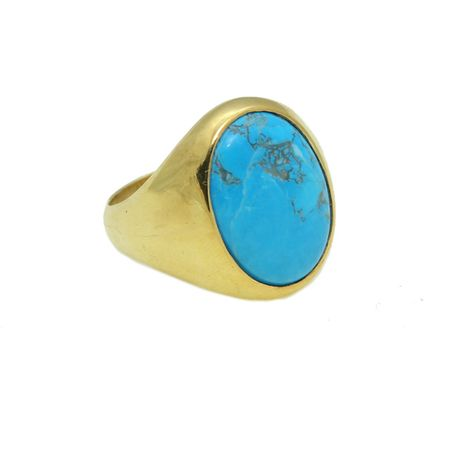Jt Ανδρικό δαχτυλίδι από επιχρυσωμένο ασήμι με τιρκουάζ