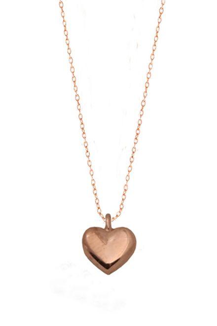 Jt Κολιέ καρδιά από ροζ ασήμι με αλυσίδα