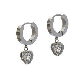 Jt Ατσάλινα σκουλαρίκια κρίκοι μικροί καρδιά λευκό κρύσταλλο