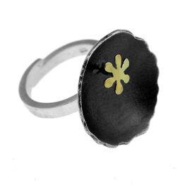Stelios Χειροποίητο ασημένιο στρογγυλό δαχτυλίδι με λουλούδι