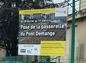 Maizières-lès-Metz : pose de la passerelle du pont Demange