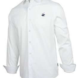 BEVERLY HILLS POLO CLUB Slim Stretch Poplin Shirt M3723 White