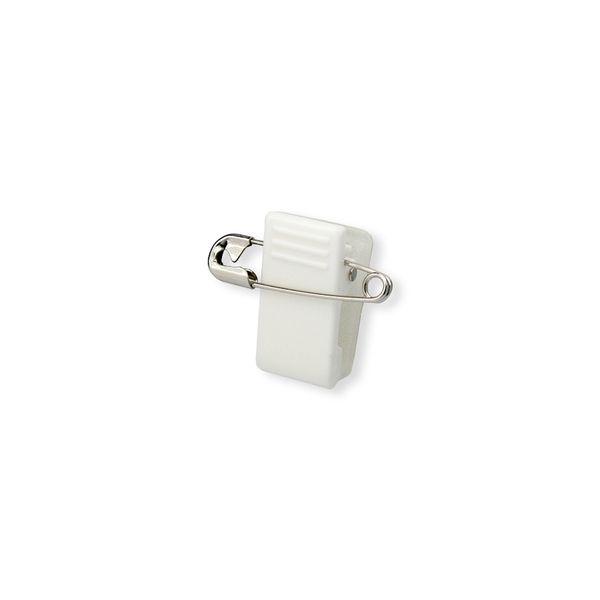 Kunststoff-Klammer mit Sicherheitsnadel - weiß