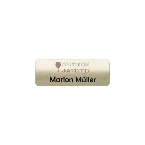Vollmetall-Namensschild gewölbt 70 x 25 mm goldf.
