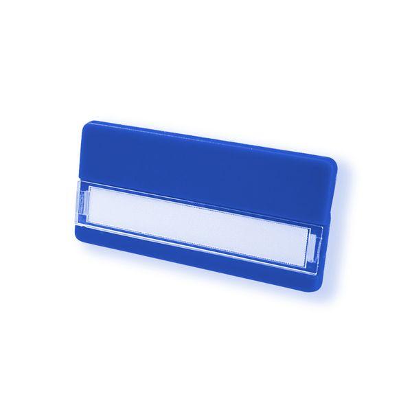 Kunststoff-Namensschild in blau - Clip-Nadel-Kombi