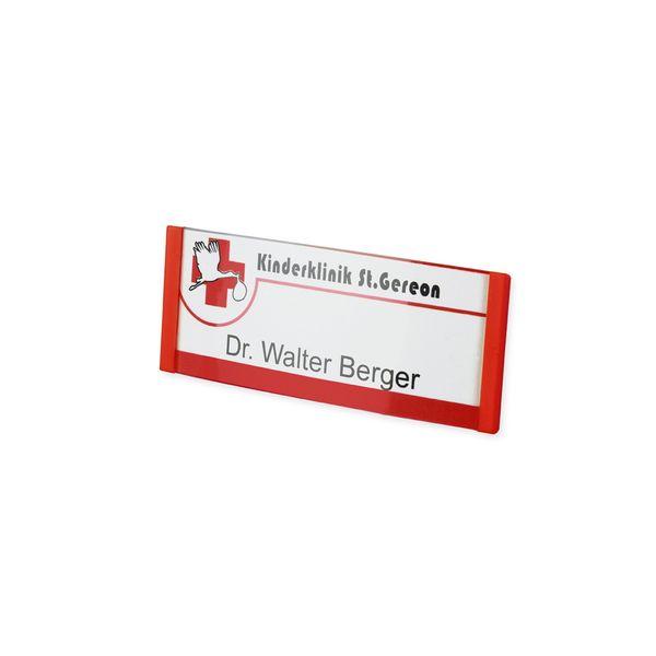 Kunststoff Namensschild, gewölbt, rot, mit Magnet