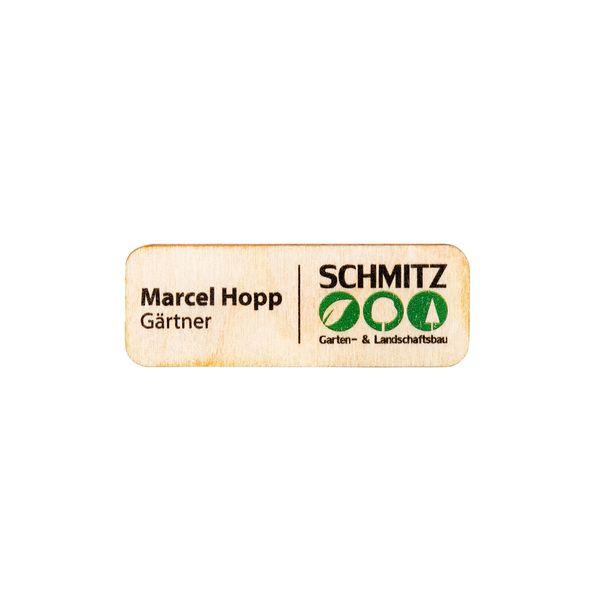 Holz-Namensschild im Format 70 x 25 x 3 mm