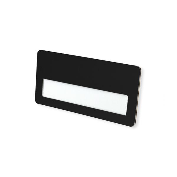 Metall-Namensschild schwarz 74 x 36 mm Krokoclip