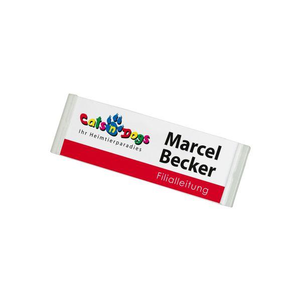 Kunststoff Namensschild, gewölbt - 68 x 22 mm
