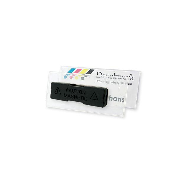 Acryl Namensschild mit schwarzem Magnet,60 x 25 mm