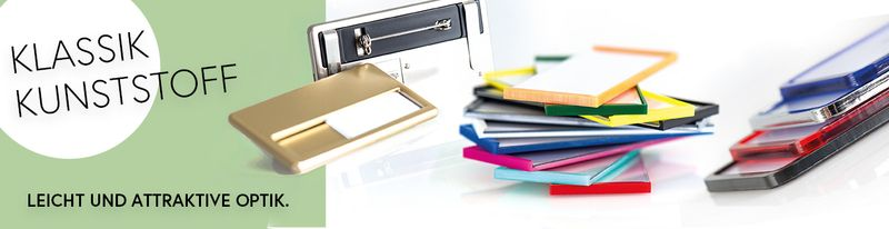 Kunststoff-Namensschilder Klassik in vielen Farben und Ausführungen