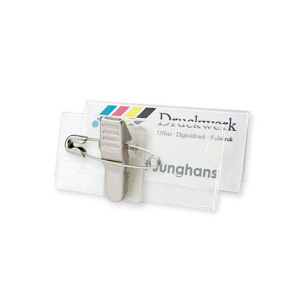 Acryl Namensschild mit Clip-Nadel - 60 x 25 mm