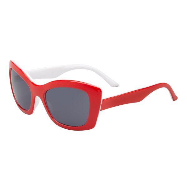 Sonnenbrille Gestell und Bügel rot-weiß UV-400