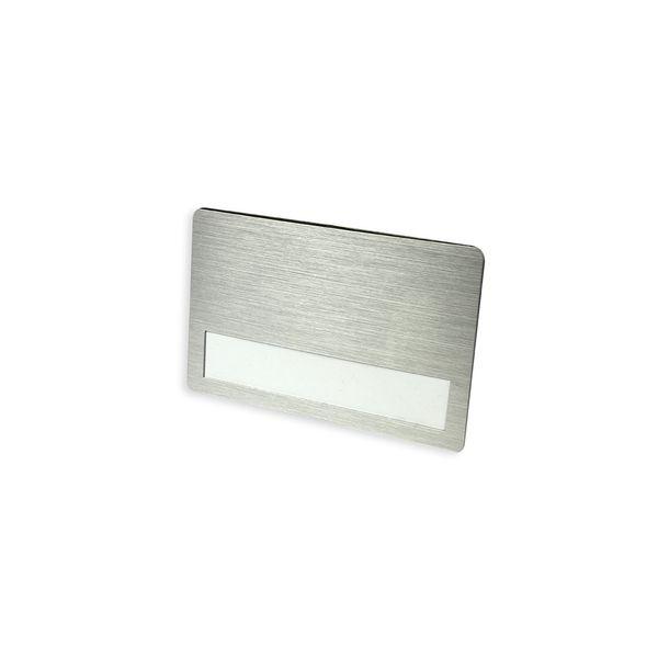 Metall-Namensschild 87 x 55 mm mit Broschennadel