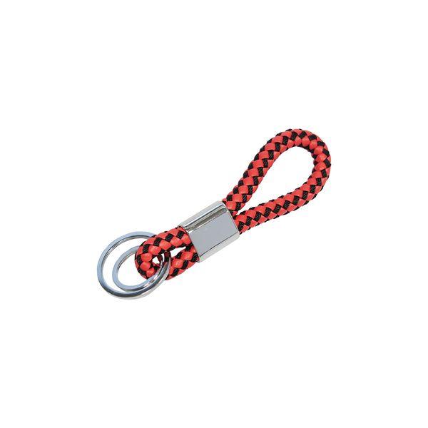 Schlüsselanhänger aus Kunstleder in rot-schwarz