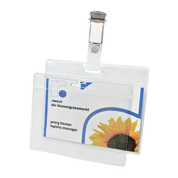 Hülle mit Ausweisclip Einlage 90 x 55 mm