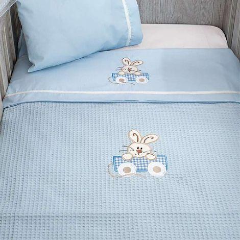 Κουβέρτα Πικέ Κούνιας Baby Oliver Happy Bunny Des 141