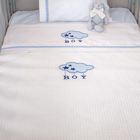Κουβέρτα Πικέ Αγκαλιάς Baby Oliver Blue Cloud Des 143