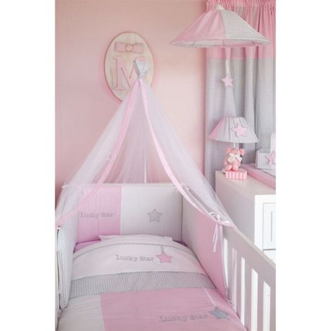 Baby Oliver Σεντόνια λίκνου Lucky star pink des.308