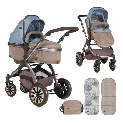 Πολυκαρότσι Aurora 3 in 1 Beige Blue Maps Lorelli