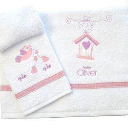 Σετ Πετσέτες Βρεφικές 2 Τεμ. Baby Oliver Lilac Dream Birds Design 300