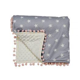 Κουβέρτα fleece Αγκαλιάς με pom-pom Stars 3073 Bebe Stars