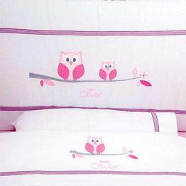 Σετ Σεντόνια Λίκνου Καλαθούνας Sweet Owl Pink Design 630 Baby Oliver