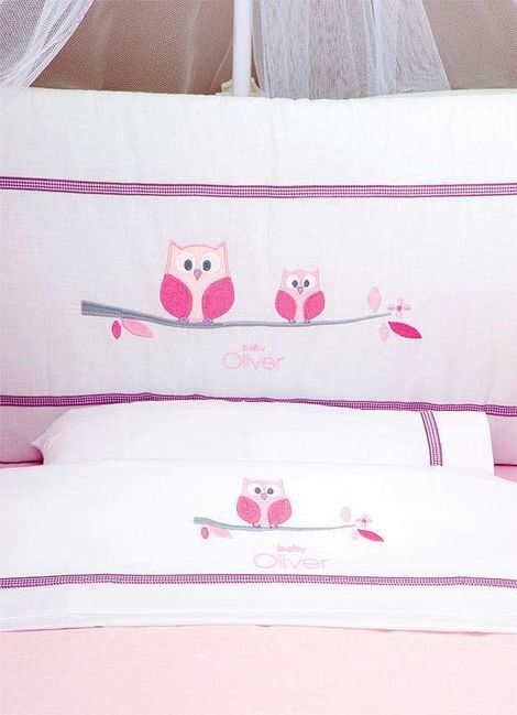 Σετ Σεντόνια 3 τεμ Sweet Owl Pink Design 630 Baby Oliver
