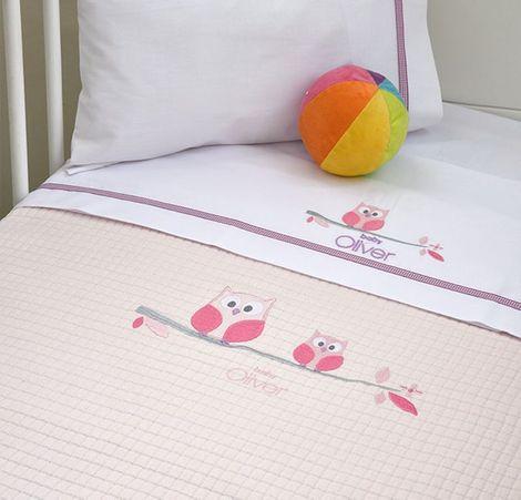 Κουβέρτα Πικέ Αγκαλιάς Owl Pink Design 630 Baby Oliver