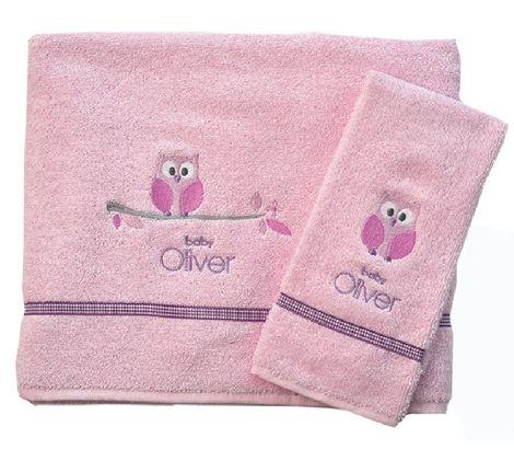 Σετ Πετσέτες Βρεφικές 2 Τεμ Owl Pink Design 630 Baby Oliver